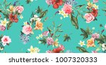 Stock vector seamless floral pattern with tropical flowers watercolor vector illustration 1007320333