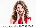 surprised girl in red dress... | Shutterstock . vector #1007329867