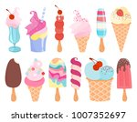 ice cream set. popsicles and... | Shutterstock .eps vector #1007352697