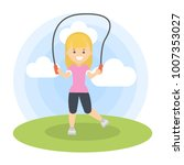 woman jumping outdoors with... | Shutterstock .eps vector #1007353027