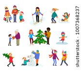 winter holiday vector cartoon... | Shutterstock .eps vector #1007368237