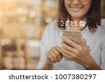 contact concept  hand of... | Shutterstock . vector #1007380297
