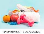 sports shoes  dumbbell fitness... | Shutterstock . vector #1007390323