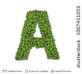 letter a symbol of green leaves.... | Shutterstock .eps vector #1007411053