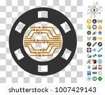 digital casino chip pictograph...