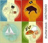 set of vintage travel postcard  ... | Shutterstock .eps vector #100743043