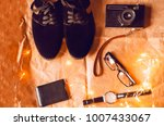 male style. wristwatches  shoes ... | Shutterstock . vector #1007433067