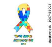 puzzles and ribbon with world... | Shutterstock .eps vector #1007455003