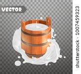 milk. rustic style. wooden... | Shutterstock .eps vector #1007459323