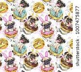 cute little dog watercolor... | Shutterstock . vector #1007475877