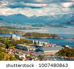 suburbs of alesund port town on ... | Shutterstock . vector #1007480863
