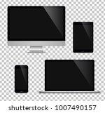 realistic set computer  laptop  ... | Shutterstock .eps vector #1007490157