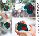 collage of green mitten with... | Shutterstock . vector #1007518003