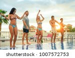 group of happy friends making a ... | Shutterstock . vector #1007572753