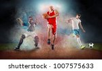 collage of team sport players... | Shutterstock . vector #1007575633