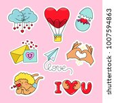 fashion patch badges with heart ... | Shutterstock .eps vector #1007594863