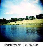lomo of a summer landscape - stock photo