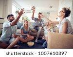 five happy friends joking and... | Shutterstock . vector #1007610397