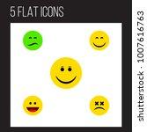 icon flat emoji set of sad ... | Shutterstock .eps vector #1007616763