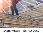 Moving Up Stair With Woman Leg...