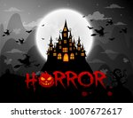 haunted house and full moon...   Shutterstock .eps vector #1007672617