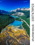Small photo of Aerial of the Saskatchewan River, The Rockies, Alberta, Canada