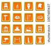 museum icons set in orange... | Shutterstock . vector #1007685637