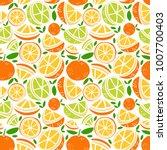 vector orange fruit seamless... | Shutterstock .eps vector #1007700403