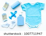 blue set for newborn boy. baby... | Shutterstock . vector #1007711947