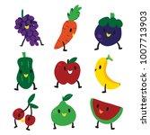 fruit character set design   Shutterstock .eps vector #1007713903