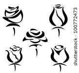 set of rose symbols, decorative vector illustration - stock vector