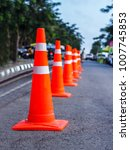orange traffic cones in the... | Shutterstock . vector #1007745853