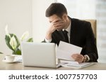 businessman shocked with bad... | Shutterstock . vector #1007757703