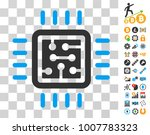 cpu circuit pictograph with...