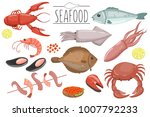 seafood set  fish products for...   Shutterstock .eps vector #1007792233