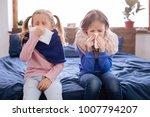 cold. sick little fair haired...   Shutterstock . vector #1007794207