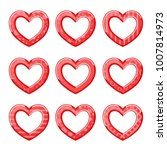funny hearts in red color | Shutterstock . vector #1007814973