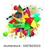 hockey  crossed hockey sticks... | Shutterstock .eps vector #1007822023