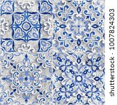 vintage italian tile with... | Shutterstock . vector #1007824303