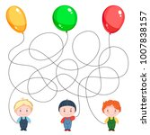 three boys with balloons.... | Shutterstock .eps vector #1007838157