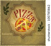 Vintage card - Cover menu - Pizza on grunge Background, Vintage style - vector illustration - stock vector