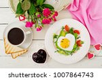 breakfast on valentine's day  ... | Shutterstock . vector #1007864743
