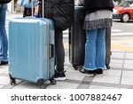 close up the tourist and bag in ...   Shutterstock . vector #1007882467