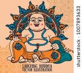 laughing buddha on beautiful...   Shutterstock .eps vector #1007893633