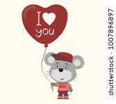 i love you  funny mouse with... | Shutterstock .eps vector #1007896897