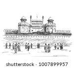 sketch of red fort unesco world ...   Shutterstock .eps vector #1007899957
