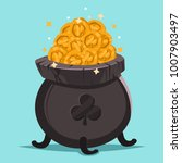 pot of gold coins and shamrock. ... | Shutterstock .eps vector #1007903497