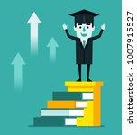 cheerful graduate student... | Shutterstock .eps vector #1007915527