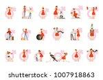 woman in red dress taking on... | Shutterstock .eps vector #1007918863