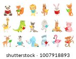 cute animal characters reading... | Shutterstock .eps vector #1007918893